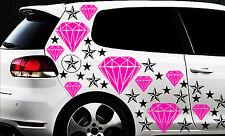 93-teiliges Diamant Sterne Star Auto Aufkleber Set Sticker WANDTATTOO Blumen