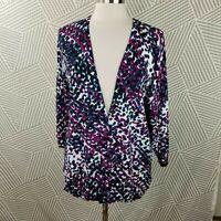Avenue Lane Bryant Cardigan Plus Size 2X 18/20 Deep V Button Up blue geometric