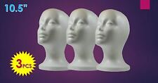"Wig Styrofoam Head Foam Mannequin Display 10.5"" (3Pcs)"