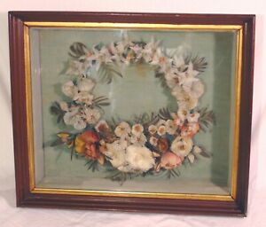 RARE Victorian Painted Feather Memorial Mourning Wreath in Walnut Shadow Box