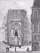 PARIS: FONTAINE MOLIÈRE (angle rue Molière & rue de Richelieu) - Gravure du 19e