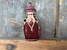 Vintage Monet Stamped Red / Ruby Perfume Bottle With Gold Designs & Red Gems