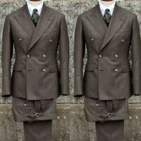 Pinstriped Slim Fit Double Breasted 3 Piece Men Formal Groomsman Formal Suits
