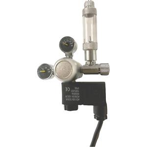 CO2 Regulator Aquarium Dual Gauge Display Bubble Counter Valve w/ Solenoid 110V