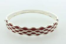 """Wave Design Cuff Bracelet - 7.25"""" Sterling Silver 925 Red Enamel Water"""