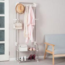 Metal Coat Stand Shoe Rack Clothes Hanger Handbag Hat Hooks Storage Shelves