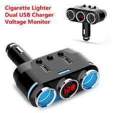 LED 2Ports Car Cigarette Lighter Adapter Splitter Dual USB Car Charger Voltmeter