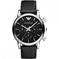 Mens Emporio Armani Chronograph Black Leather Watch AR1733