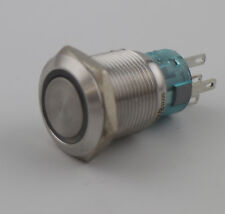 19mm DC12V Blue LED Stainless Steel Momentary Push Button Switch 1NO 1NC 5Pin