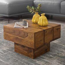 Wohnling Couchtisch Massiv-Holz Sheesham Wohnzimmertisch Beistelltisch SIRA Cube