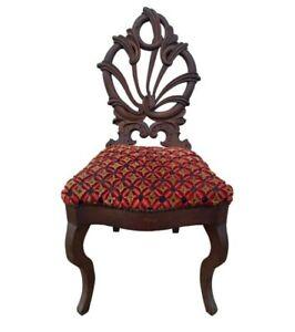 Antique Art Nouveau Hand Carved Walnut Accent Chair