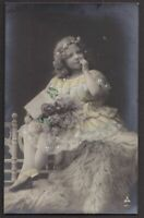 Young Grete Reinwald  antique tinted real photo postcard 1909