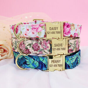 Floral Pink Personalised Dog Collar Gold Buckle Custom Engraved ID Name Collars