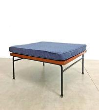 Vintage Modernist Iron Redwood Bench Stool w/ Blue Cushion Mid Century Modern