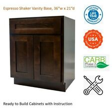 "Espresso Shaker Vanity Base Cabinet 36""W x 21""D x 34 1/2""H"