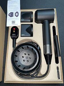 Non Working Dyson Supersonic Hair Dryer -Black/Silver Edition HD01 & Attachmens