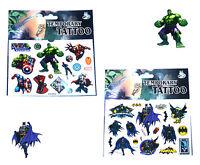 1 BATMAN & 1 AVENGERS TATTOO SHEET Kids Birthday Party Bag Filler Movie Gift