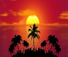 ISLAND SUNSET MOUSE PAD  IMAGE FABRIC TOP RUBBER BACKED