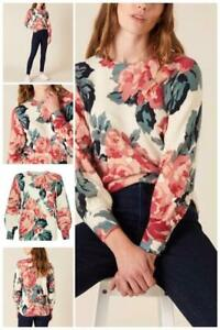 Monsoon - Large Floral Print Knit Jumper-Ivory-Size - S or M(Brand New With Tag)