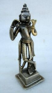 1850s Antique Old Bronze Silver Plated Work Hindu God Krishna Statue Rich Patina