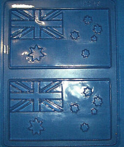 TWO LARGE RECTANGLES WITH AN AUSTRALIAN FLAG CHOCOLATE MOULD OR PLASTER MOULD