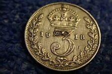Scarce Argent 3 Pence : 1918 IN Extrêmement Fine État! King George V
