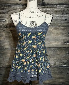 Free People Intimately Womens Blue Cami Tank Top Floral With Lace Size Small -C3