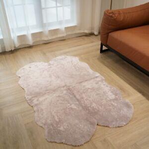 3'x4.6' Curly Australian Sheepskin Rug Quilt Fluffy Carpet Light Purple Mat