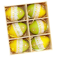 6x Easter Egg Ornaments Hanging Easter Eggs for DIY Crafts Home Decorations