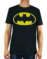 Batman Distressed Logo Men's Adults Black T-Shirt Top
