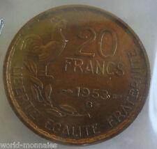 20 francs G Guiraud 1953 B : TTB : pièce de monnaie française