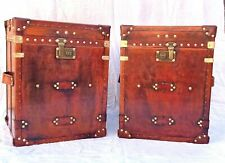 Pair of Finest English Leather Antique Inspired Side Table Trunk & Chests Item