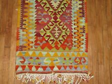 Vintage Tribal Turkish Anatolian Kilim Rug Runner Size 2'4''x7'