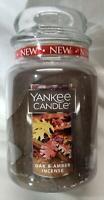Yankee Candle OAK & AMBER INCENSE Large Jar 22 Oz Brown Housewarmer New Wax Fall
