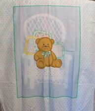 Baby Quilt TOP cotton fabric panel blue plaid teddy bear wicher chair 34x44