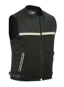Mens Motorcycle Leather Codura Textile Motorbike Vest Black- Light Beige