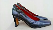 vintage Paco Marcos navy irridescent leather 90s  shoes  square heel size 4