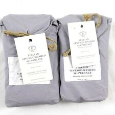 Restoration Hardware Vintage Washed 464 Percale Standard Shams Set X2 Thistle