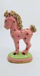 Vintage Spaghetti Horse Pink Green Gold Floral Porcelain Ceramic Statue Figure