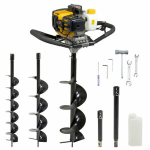 Wolf 52cc Petrol Earth Auger Fence Post Hole Borer Ground Drill & 2 Extns