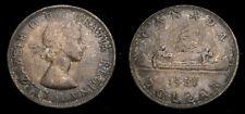 1961 Canada Silver 1 One Dollar Queen Elizabeth II Original Old Dark Toning EF+