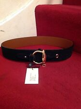 Ralph Lauren Ladies Black Leather Suede Effect Gold Detailing Belt BNWT