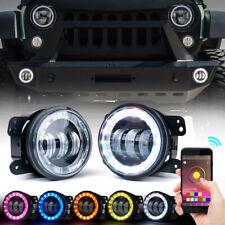 "Xprite 4"" 60W CREE LED Fog Lights w/ RGB Halo Ring for 07-18 Jeep Wrangler JK/JL"