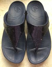 WOMENS FITFLOP ELECTRA NAVY BLUE SEQUIN THONG FLIP FLOP SIZE 9
