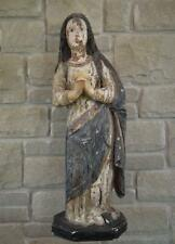 Large Antique 18 Century Spanish Colonial Carved Wood Virgin Mary Figure Santos