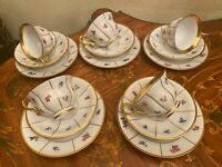 1960s Vintage 5 cups Saucers Cake Plates Danish KPM Coffee Set