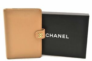 Authentic CHANEL Agenda Day Planner Cover CC Logos Leather Beige Box 0487A