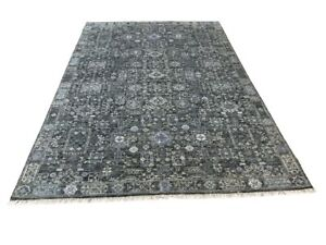 6' x 9' HANDMADE WOOL RUG HAND KNOTTED TRANSITIONAL GRAY M8194-49