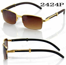 New Mens Women Retro Fashion Sunglasses Shades Wood Gold Frame Vintage Rectangle