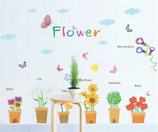 Flowers Pot Butterfly Home Room Decor Removable Wall Stickers Decal Decorations